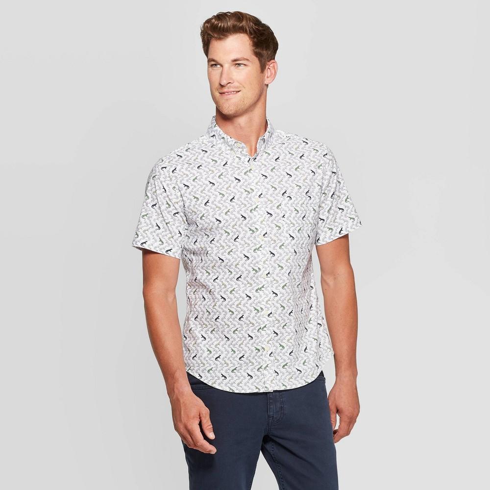 Men's Lizard Print Slim Fit Poplin Button-Down Shirt - Goodfellow & Co Beige XL, Men's was $19.99 now $12.0 (40.0% off)