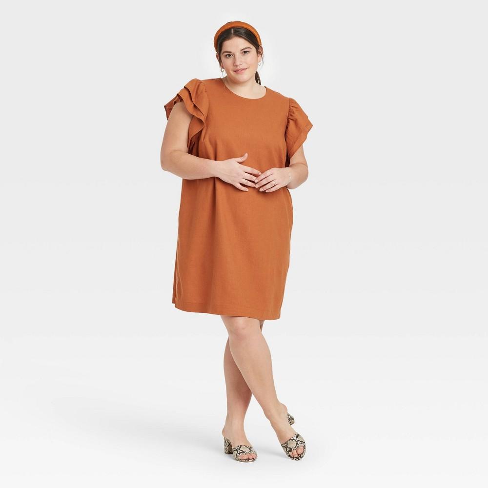 Women 39 S Plus Size Ruffle Short Sleeve Dress A New Day 8482 Brown 1x