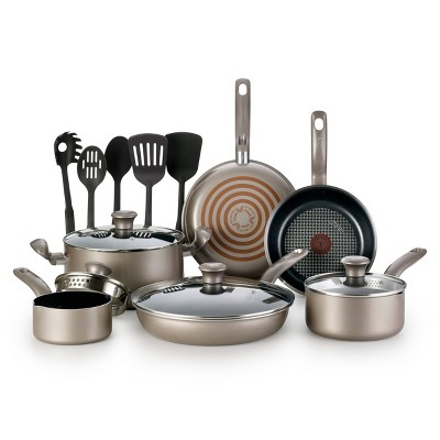 T-fal Simply Cook Nonstick Dishwasher Safe Cookware, 15pc Set, Champagne