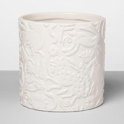 6  x 6  Stoneware Planter With Animal Print White - Opalhouse™