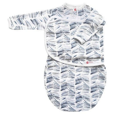 embe Starter Long Sleeve Swaddle with Fold Over Mitts - Angle Stripe Watercolor Blue