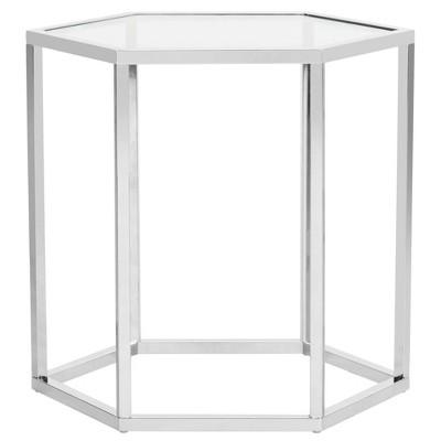 Teagan Glass End Table Chrome - Safavieh