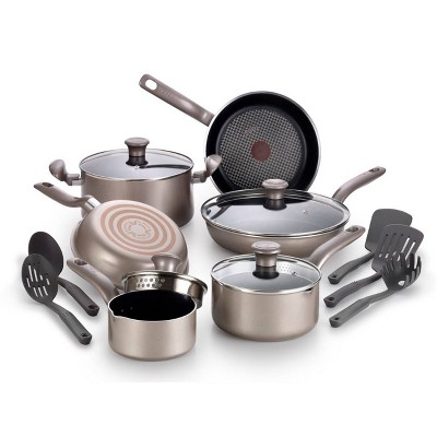 T-Fal 15pc Nonstick Cookware Set Champagne