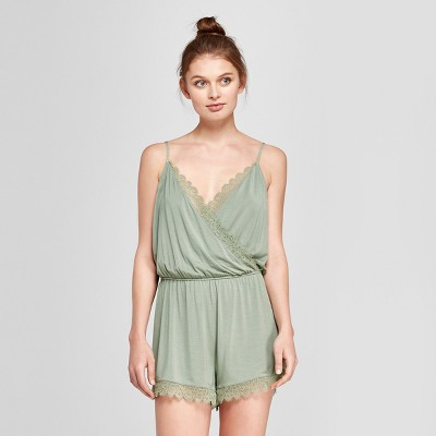 Women's Total Comfort Lace Romper Pajama Set - Gilligan & O'Malley™ Sage XL