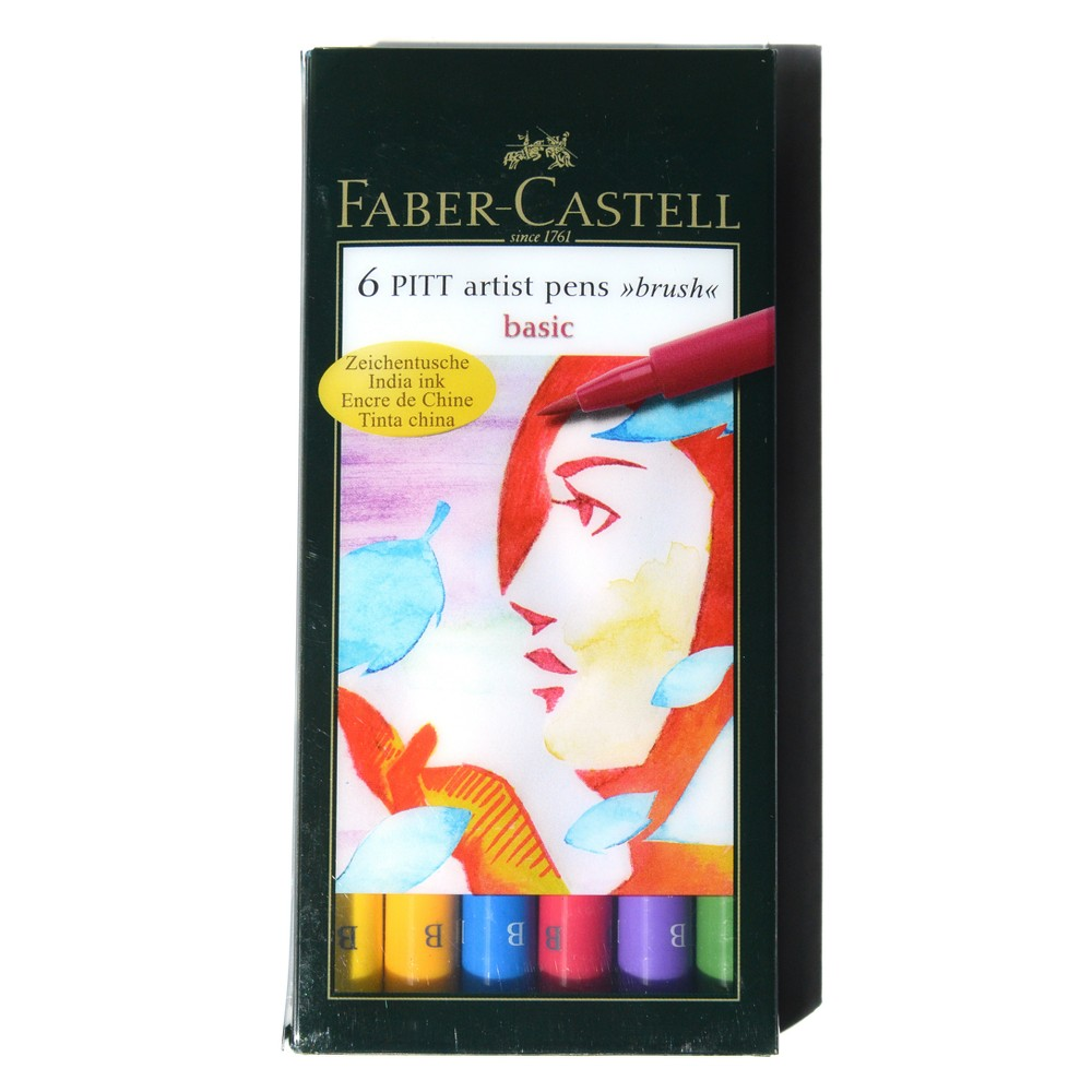Pitt Artist Brush Pen Set 6ct Faber-Castell -Basic Colors, Basic Colors