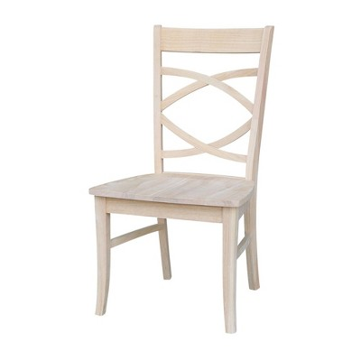 Set of 2 Milano Chair with Wood Seat Unfinished - International Concepts