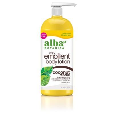 Alba Botanica Very Emollient Coconut Rescue Moisturizing Lotion - 32oz