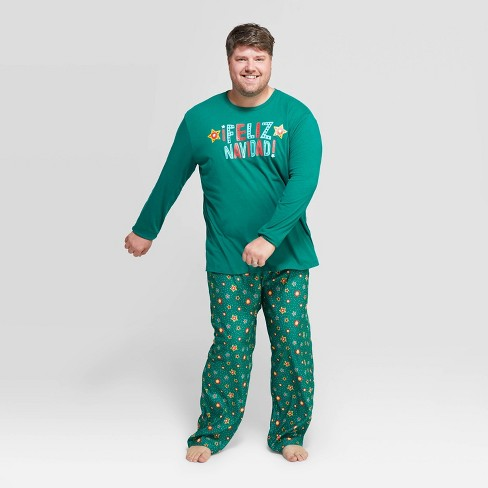 Mens Christmas Pajamas.Men S Big Tall Holiday Feliz Navidad Pajama Set Wondershop Green
