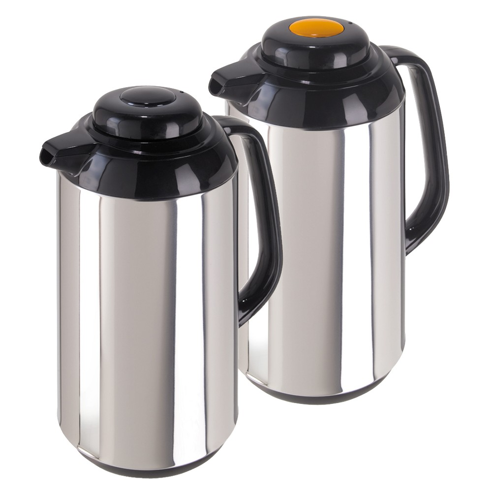 Image of Oggi Connoisseur Stainless Steel Carafe Set of 2 - Silver (1L)