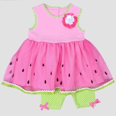 Baby Girls' Flocking Border Print Jersey Top and Bike Shorts Set Nate & Annee™ Pink 0-3M