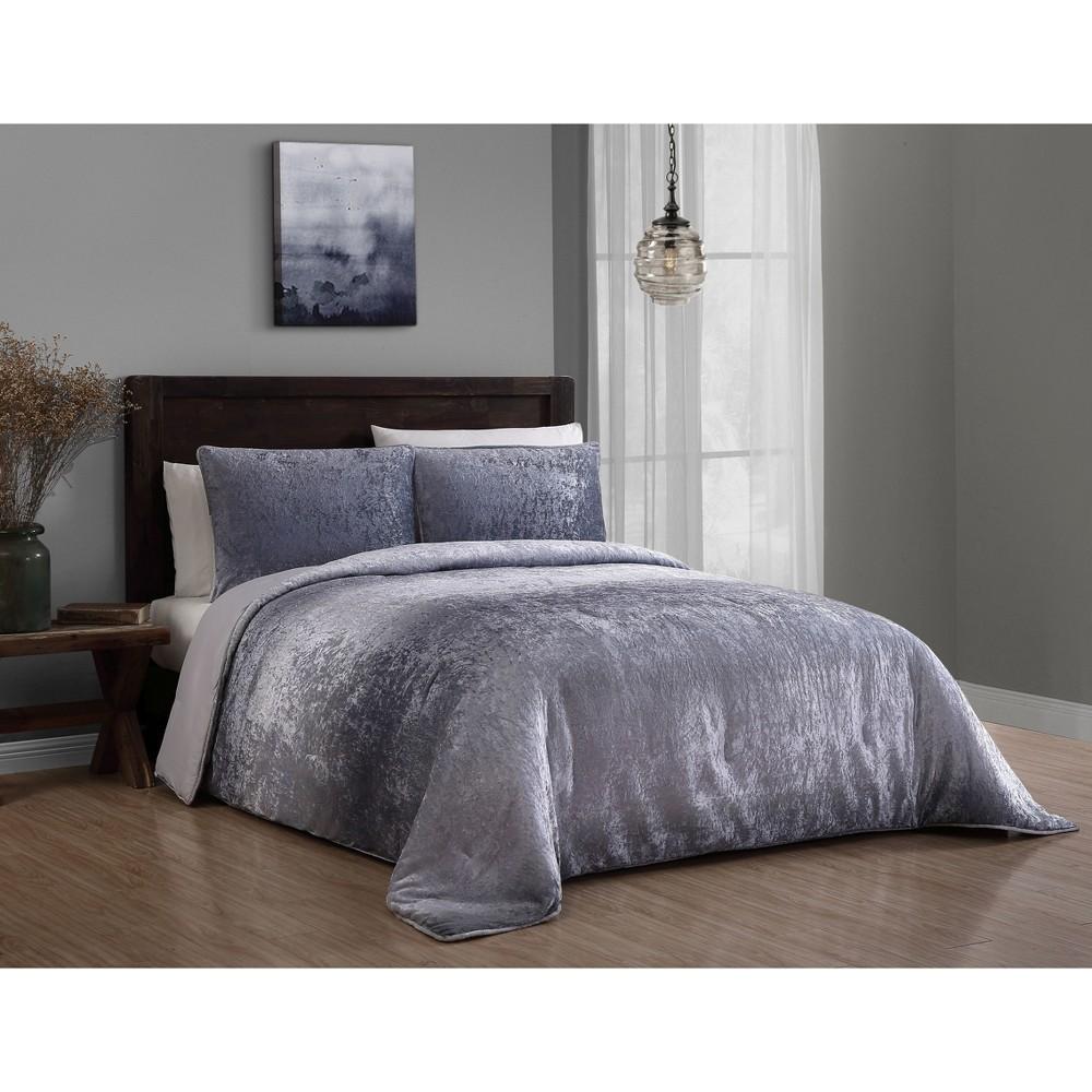 Image of 3pc King Bradshaw Velvet Comforter Set Gray - Geneva Home Fashion
