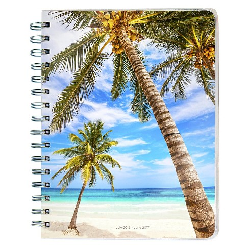 "TF Publishing 2017 Academic Year 12 Month Planner, (8.5"" x 7"") - Tropical Beaches Spiral Engagement - image 1 of 4"