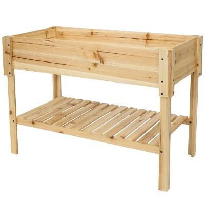 "Sunnydaze Raised Wooden Garden Bed Planter Box with Shelf - 42"" - Clear Coat"