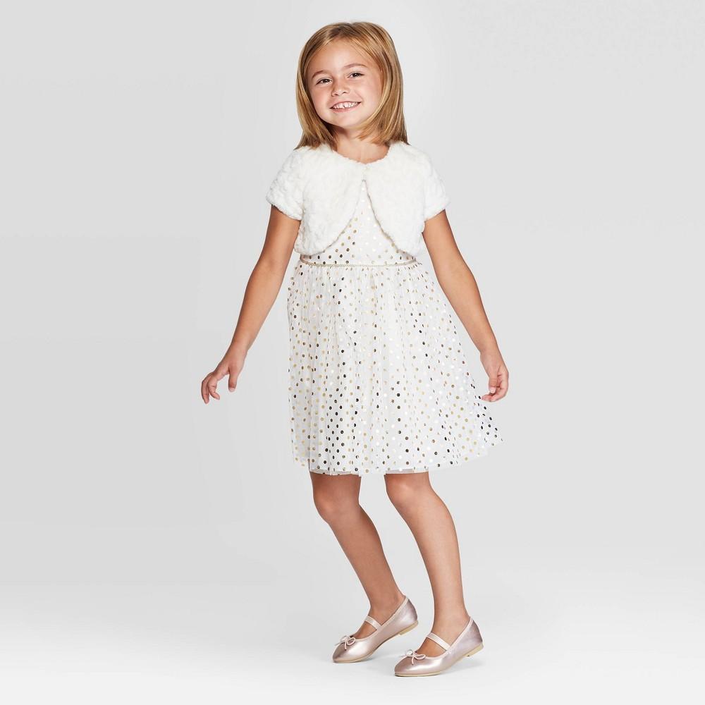 Image of Mia & Mimi Toddler Girls' Polka Dot Dress with Faux Fur Shrug - White/Gold 12M, Toddler Girl's