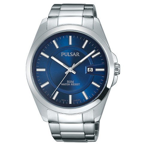 Men's Pulsar Basic Dress Collection - Silver Tone with Blue Dial - PH9087 - image 1 of 1
