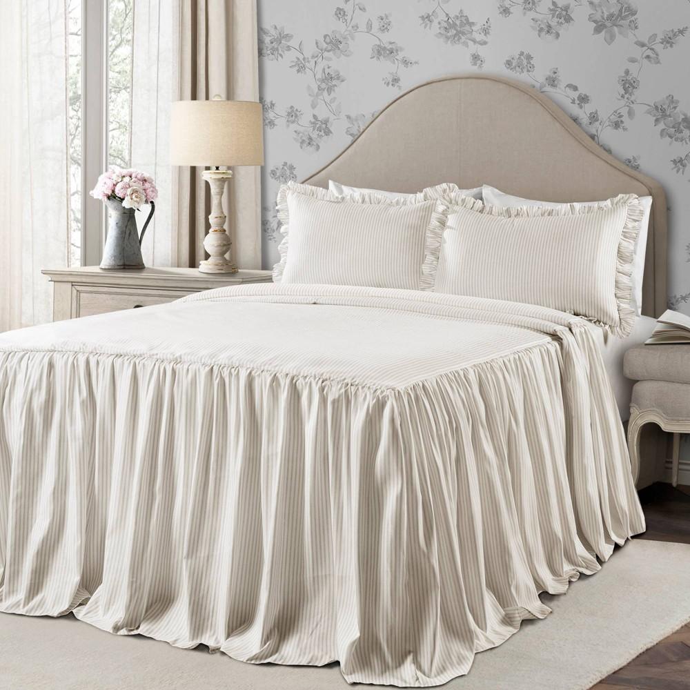 Full 3pc Ticking Stripe Bedspread Set Neutral - Lush Décor Reviews