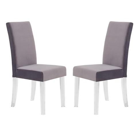 Dalia Modern And Contemporary Dining Chair Set Of 2 In Gray Velvet With Acrylic Legs Armen Living