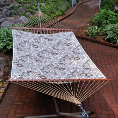 """Northlight 82"""" x 55"""" Blue and Brown Floral Reversible 2-Point Quilted Double Hammock"""