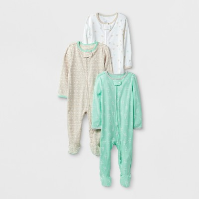 Baby 3pk Sleep N' Play Set Cloud Island™ - Mint/Oatmeal 0-3M