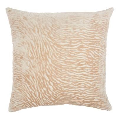 Luminescence Metallic Zebra Oversize square Throw Pillow Beige - Mina Victory