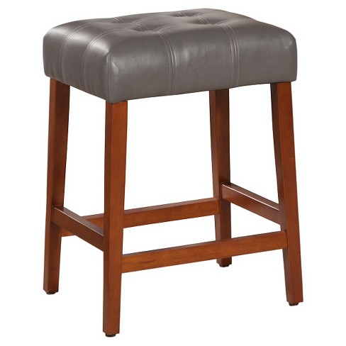 """Faux Leather Tufted 24.5"""" Counter Stool Plywood - HomePop - image 1 of 4"""