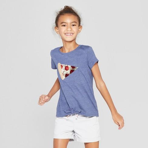 ef2d8b0b Girls' Short Sleeve Tie Front Pizza Flip Sequins T-Shirt - Cat & Jack™ Navy  : Target