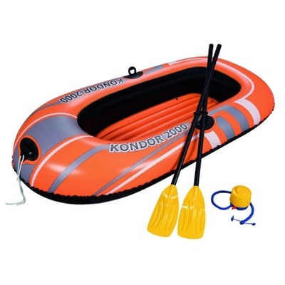 Bestway 61062E Kondor 2000 77 x 45 Inch Inflatable Single Person Water Raft Boat Set with 2 Oars and Foot Pump for Lakes, Pools and Rivers