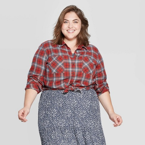 comfortable feel find workmanship great deals on fashion Women's Plus Size Plaid Long Sleeve Collared Flannel Shirt - Universal  Thread™ Red