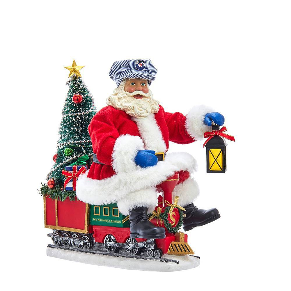 "Image of ""10.5"""" Kurt Adler Lit Santa On Lionel Train Decorative Sculpture"""