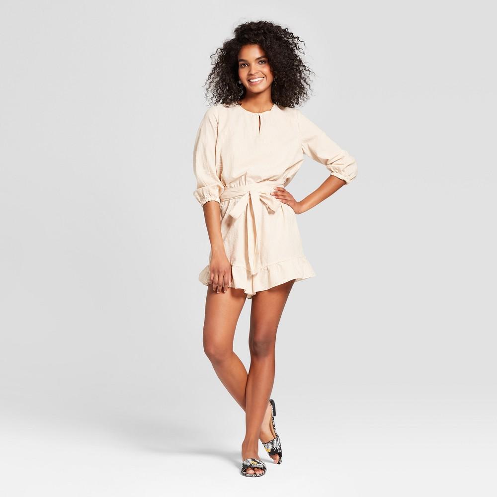 Women's Striped Long Sleeve Belted Romper - Who What Wear Tan/White L, Tan/White Stripe