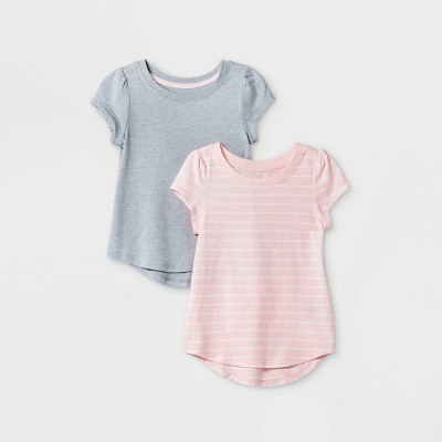 Toddler Girls' 2pk Striped & Sparkle Short Sleeve T-Shirt - Cat & Jack™ Pink/Gray