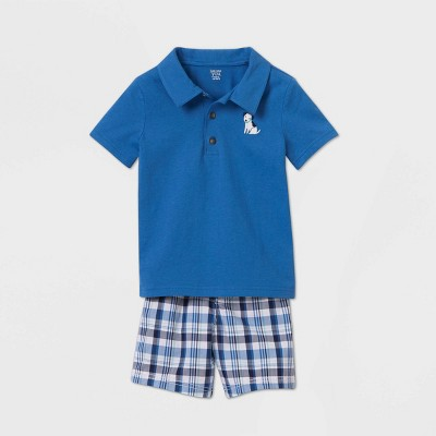 Toddler Boys' 2pc Plaid Top & Bottom Set - Just One You® made by carter's Blue 2T
