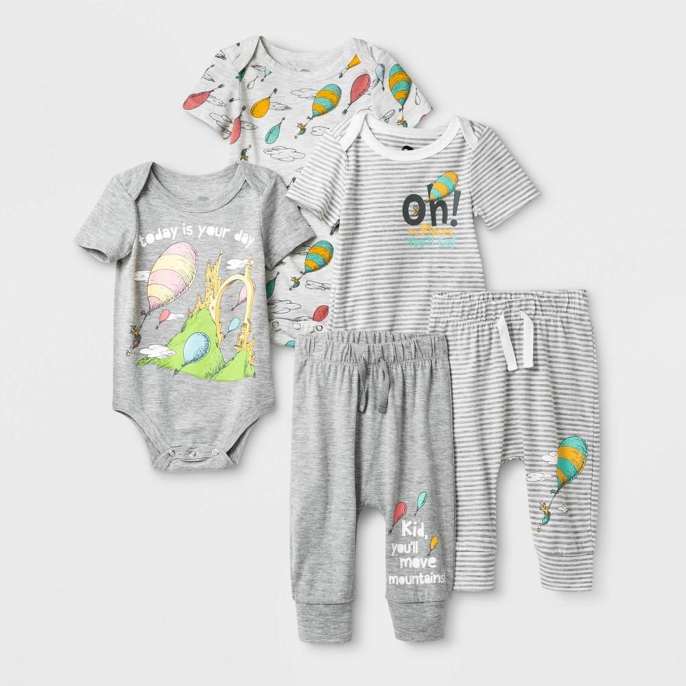 Image of Baby 5pk Dr.Seuss Bodysuits and Pants Set - 0-3M, Kids Unisex, Gray