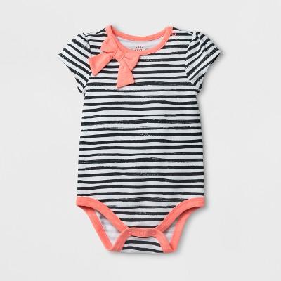 Baby Girls' Bow Neck Bodysuit - Cat & Jack™ Black/White Stripe 0-3M