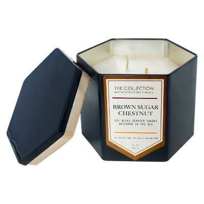 11oz Hexagon Black Tin Candle Brown Sugar Chestnut - The Collection By Chesapeake Bay Candle