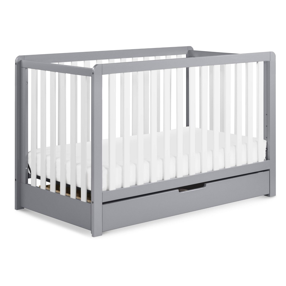 Image of Carter's by DaVinci Colby 4-in-1 Convertible Crib with Trundle Drawer - Gray and White, Gray/White