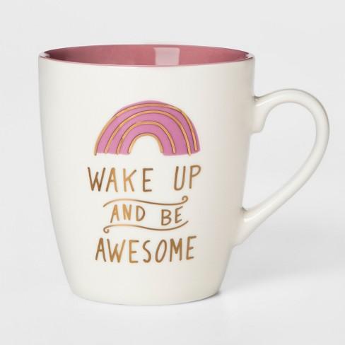27oz Stoneware Wake Up And Be Awesome Mug White/Pink - Threshold™ - image 1 of 1