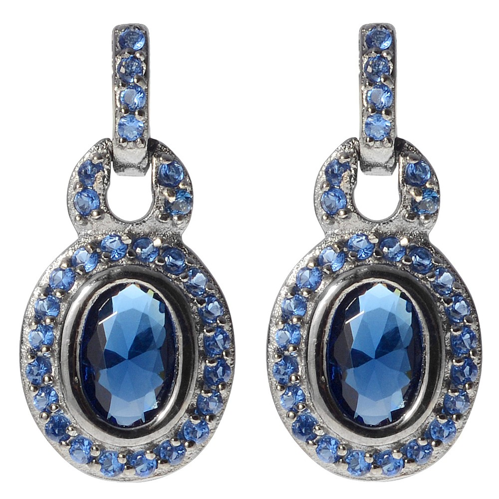 3 3/5 CT. T.W. Round-cut CZ Pave Set Dangle Earrings in Sterling Silver - Blue, Girl's