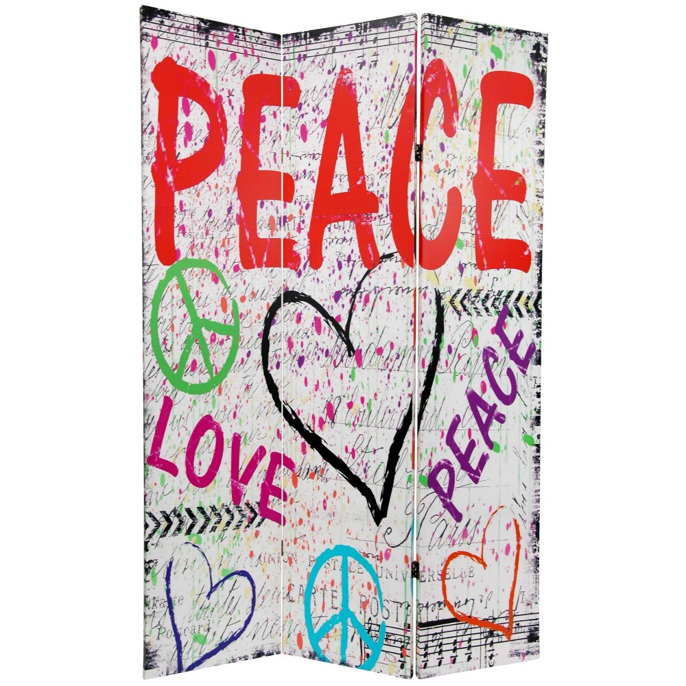 6' Tall Double Sided White Peace And Love Room Divider - Oriental Furniture, Multicolor Rainbow
