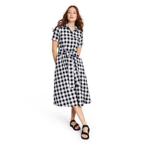 Women's Gingham Button-Front Shirtdress - Lisa Marie Fernandez for Target (Regular & Plus) Black/White - image 1 of 4