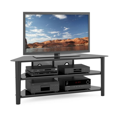 "Stained Wood Veneer TV Stand Black 60"" - CorLiving - image 1 of 4"