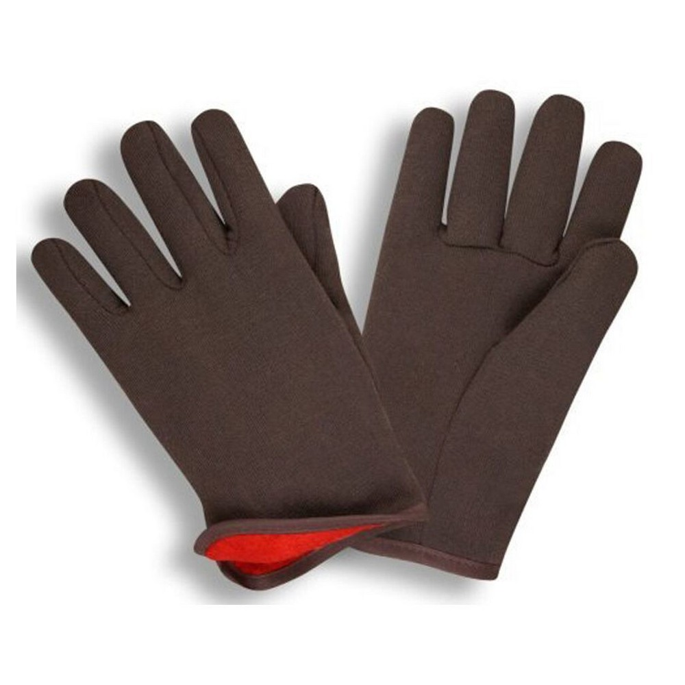 Image of Brown Jersey Winter Work Gloves with Red Fleece Lining- Large-G & F