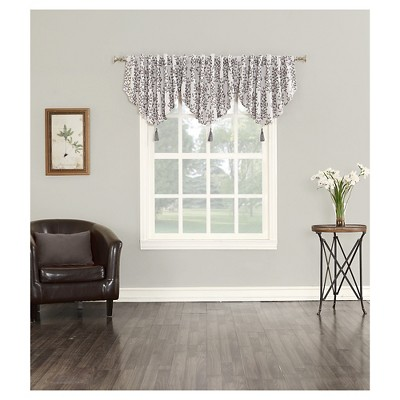 Rona Woven Floral Blackout Lined Energy Efficient Back-Tab Curtain Valance Gray / Iron (52 x24 )- Sun Zero