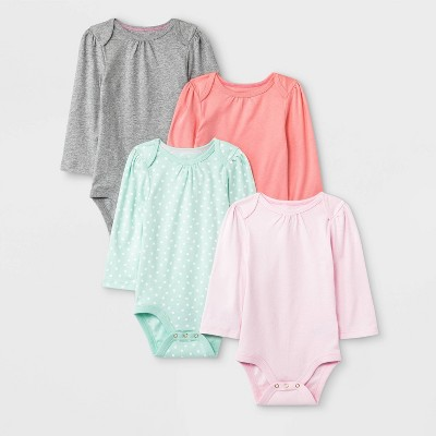 Baby Girls' 4pk Long Sleeve Bodysuits - Cloud Island™ 24M