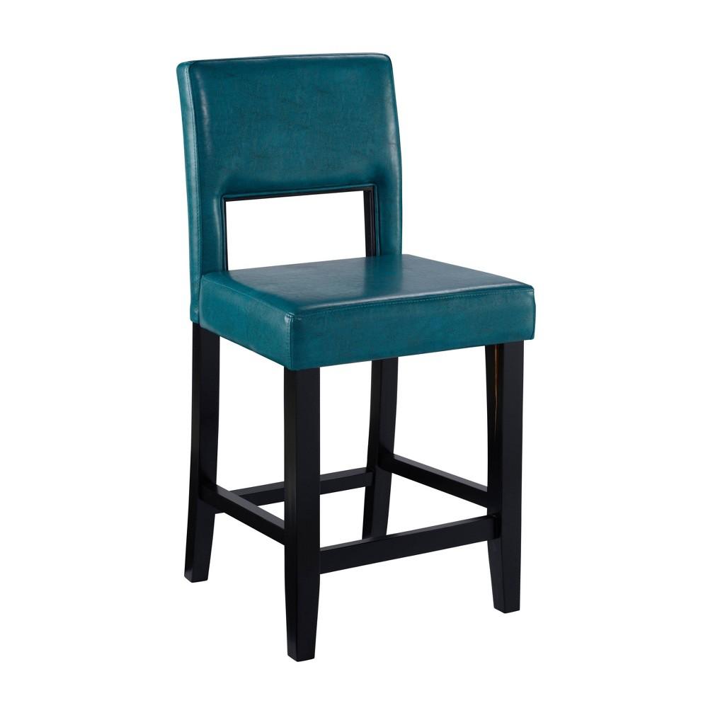 24 Vega Counter Height Barstool Hardwood Blue - Linon Buy