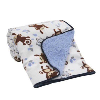Bedtime Originals Velour Sherpa Soft Baby Blanket - Mod Monkey