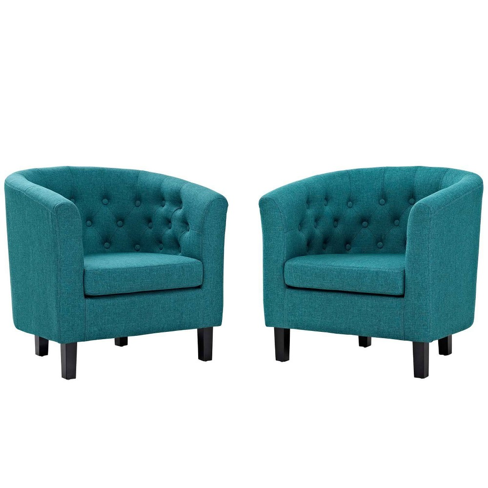 2pc Prospect Upholstered Fabric Armchair Set Teal (Blue) - Modway