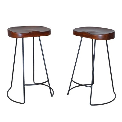 """Set of 2 24"""" Vale Counter Height Barstools Chestnut/Black - Carolina Chair and Table"""