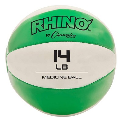Champion Sports MB14 Rhino Textured Leather 8.37 Inch Round Non Slip Grip Exercise Medicine Fitness Training Weight Ball, 14 Pounds, Green
