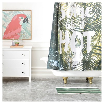 Catherine McDonald Some Like It Hot Shower Curtain Green/Typography - Deny Designs